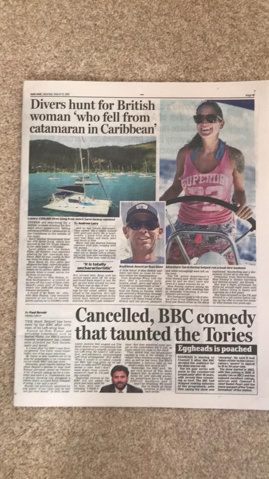 Missing Person Sarm Heslop in Daily Mail Newspaper - 13 March 2021